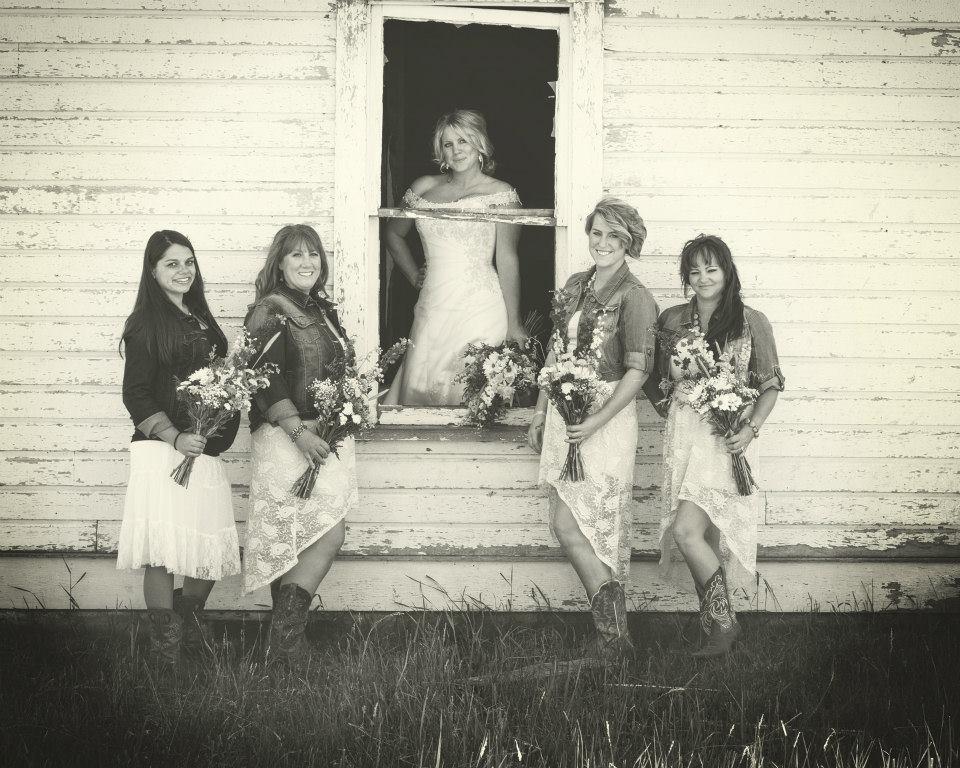 Bride and Bridesmaid Country Wedding.