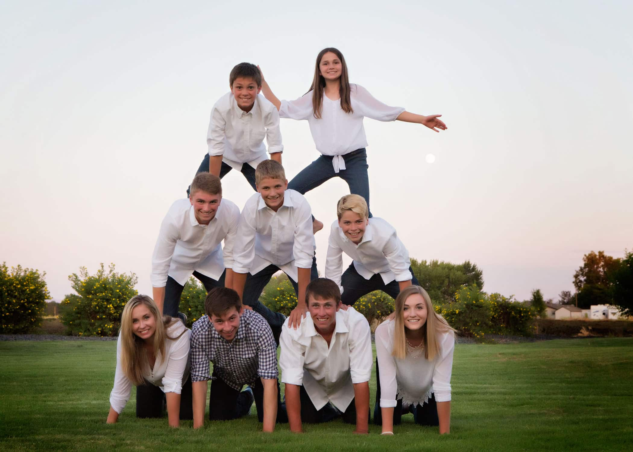 Family in a human pyramid