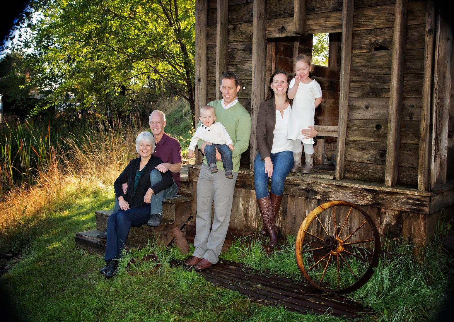 Country Family in Barn.