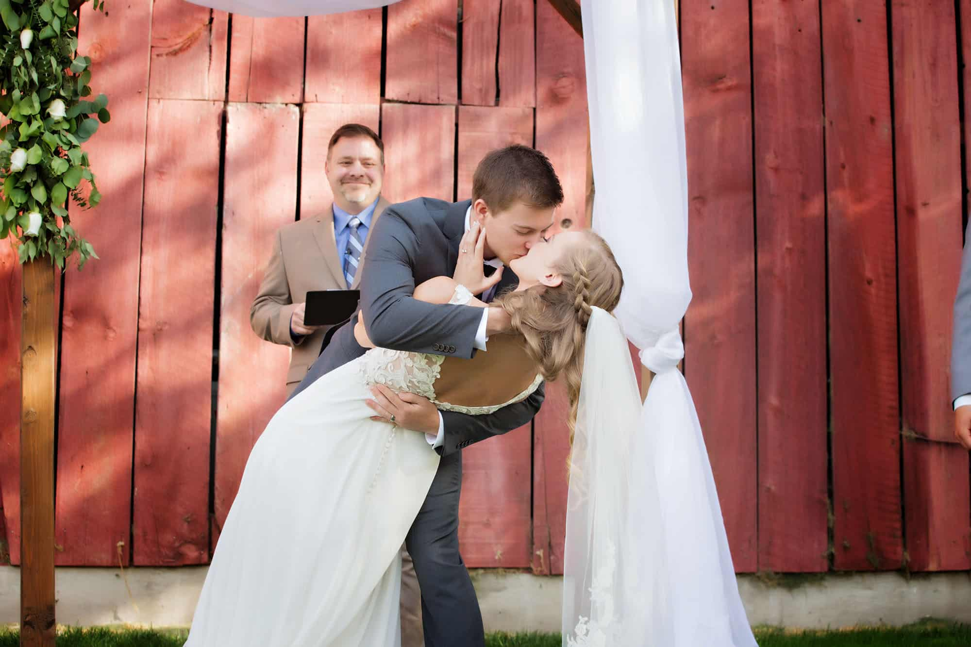 First Kiss at wedding in Hidden Springs.