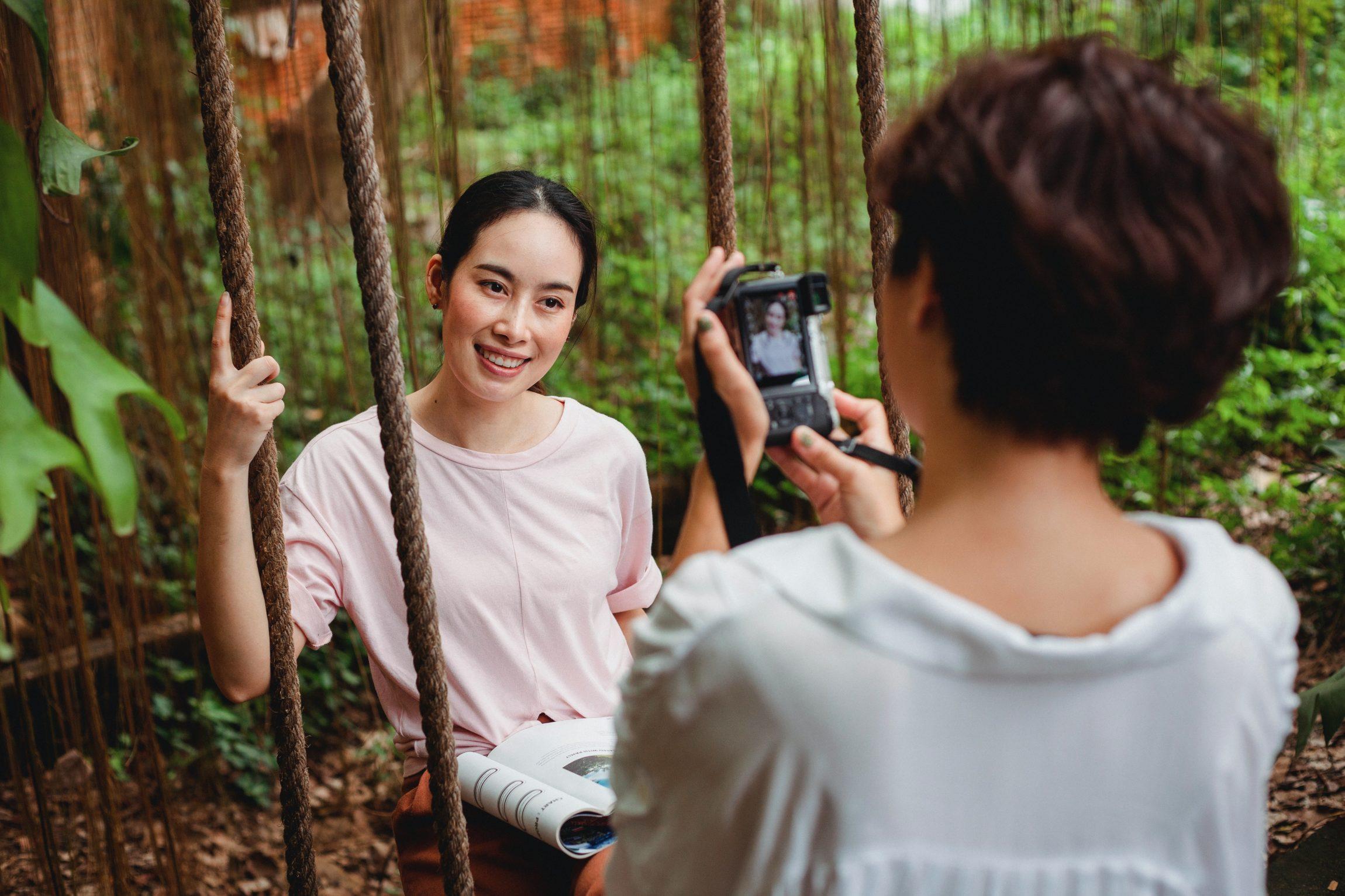 Photographer capturing headshot of their subject